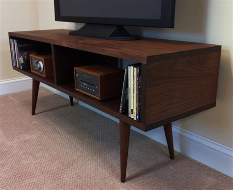 Tv Console Table Contemporary Narrow Modern Walnut Tv Console Table With Tapered Wood Legs And Bookshelf