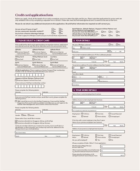 credit card application templates 9 sle credit application forms sle templates