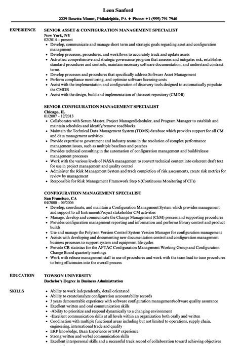 Configuration Management Resume by Configuration Management Specialist Sle Resume Professional Configuration Management