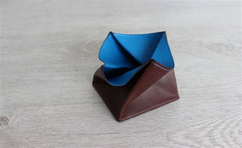 Origami Change Purse - origami leather coin purse row brown and arctic blue