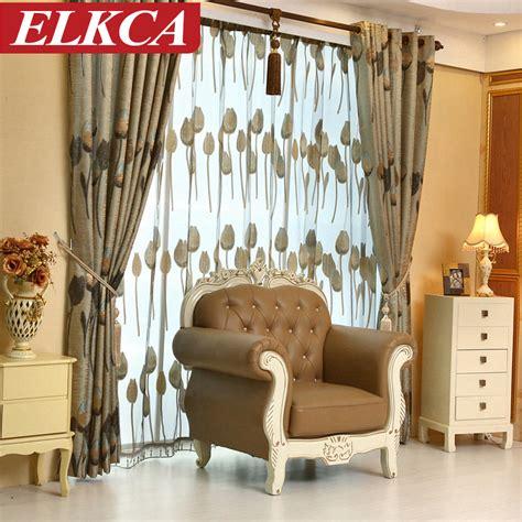 Custom Living Room Window Treatments High Quality Grey Tulip European Luxury Curtains For