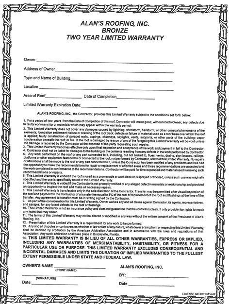 Roofing Roofing Warranty Roofing Workmanship Warranty Template