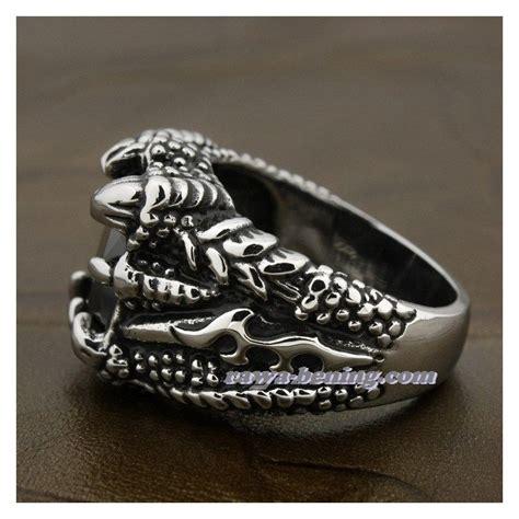 cincin cakar naga hitam ring 8us bahan stainless steel 316l