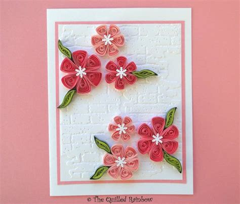 Handmade Cards With Flowers - quilled flowers card paper quilling handmade greeting