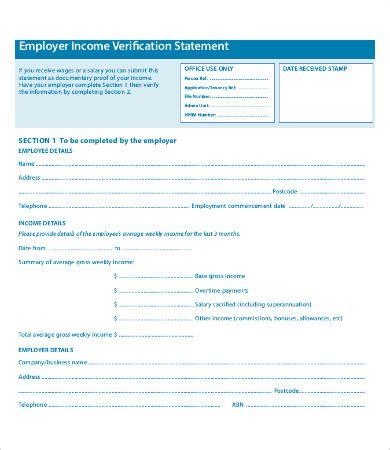 employment income verification form template employment verification form 12 free word pdf