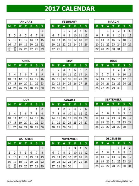 2014 To 2017 Calendar 2017 Calendar Template Open Office Templates
