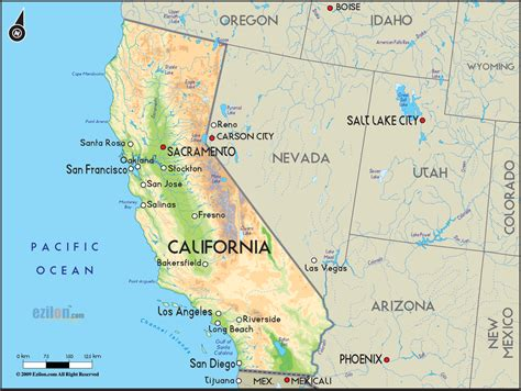 geographical map of california and california geographical