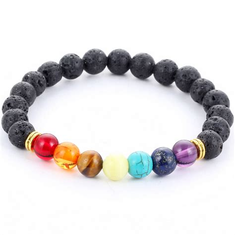Muti color Mens Bracelets Black Lava 7 Chakra Healing Balance Beads Bracelet For Women Reiki
