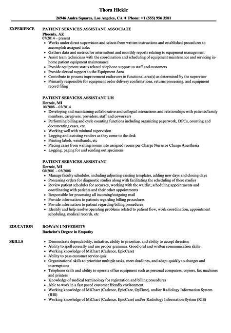 patient services assistant resume sles velvet jobs