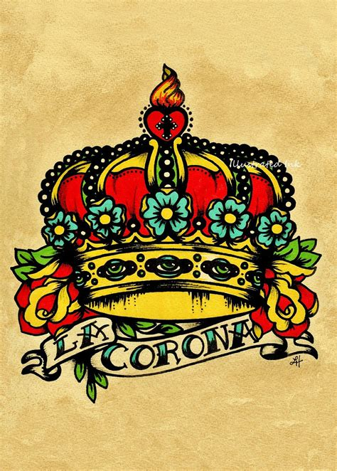 old school tattoo watercolor old school tattoo crown art la corona loteria print 5 x 7 8 x