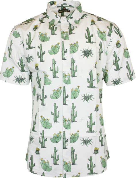 run fly mens cactus print sleeved shirt vintage retro 80s