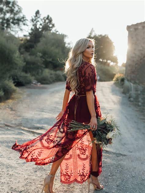 burgundy floral chain lace flowy side slit deep  neck