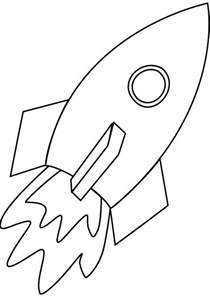 Rocket simple line for kids coloring page rocket simple