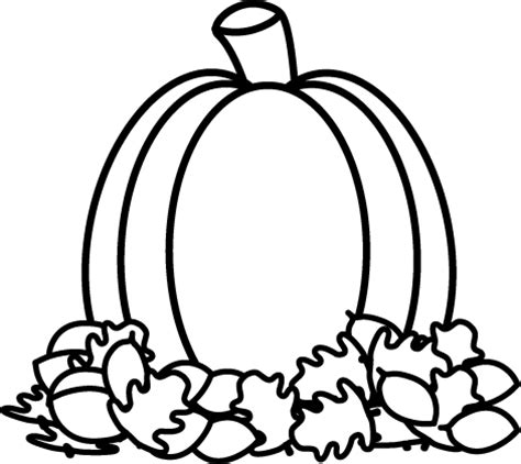 fall clipart black and white black and white pumpkin in autumn leaves clip black