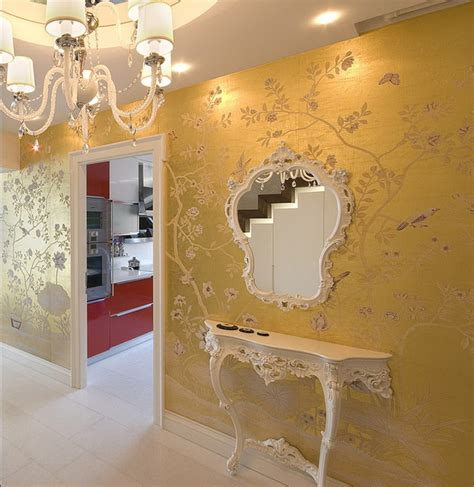 gold wallpaper hallway handpainted wallpaper traditional hall other metro