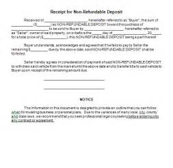 car deposit contract template sle receipt for non refundable deposit form blank