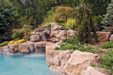 inground pool waterfalls large inground pool with waterfalls boulders and