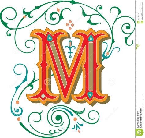 beautiful ornament letter m stock photo image 38518170