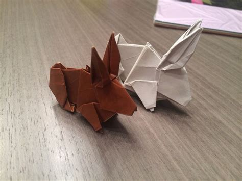 Brown Origami Paper - origami rabbit made of 20x20 cm light grey laserprinter