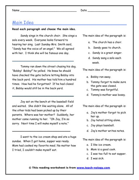 main idea and supporting details worksheets 4th grade the