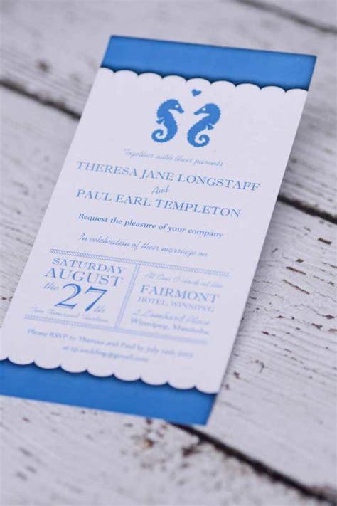 affordable wedding invitations edmonton custom nautical seahorse wedding invitations canada empire invites