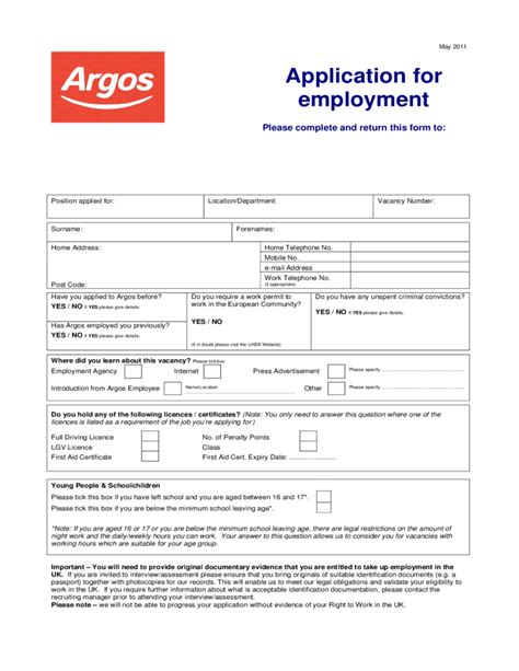 Argos Application For Employment Form Free Download Retail Application Template