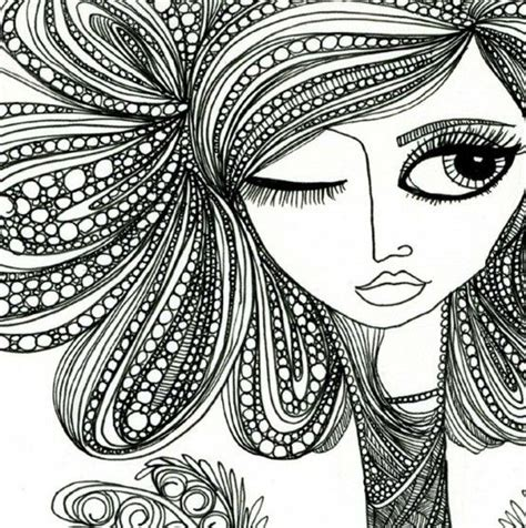 hair pattern drawing cool face and hair zentangle design zentangle more