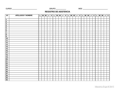 registro de asistencia hoja registro de asistencia 5 semanas 30 estudiantes 01