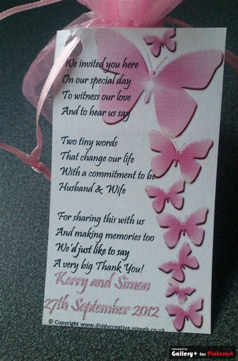 thank you poems for wedding gifts wedding favor tags with thank you poem and pink butterflies personalised wedding favors