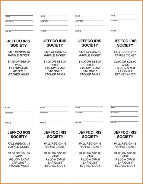 printable raffle tickets word 8 free raffle ticket template for wordreference letters