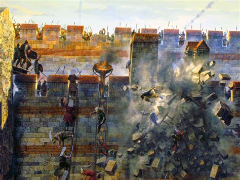 ottoman janissary scaling the walls of constantinople