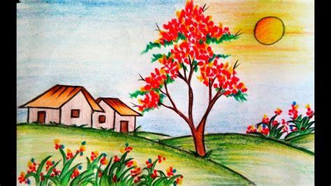 learn   draw scenery  flower garden step  step