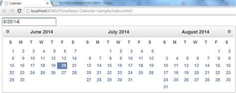 P Calendar Default Value Primefaces Calendar Component Exle Tutorial Journaldev