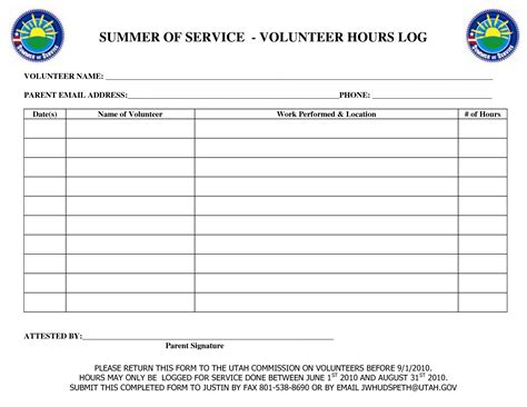 volunteer hours log template volunteer hours sheet printable just b cause