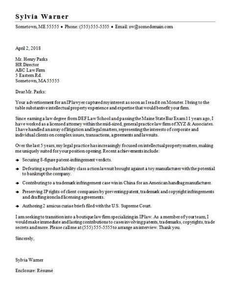 lawyer cover letter sample monstercom