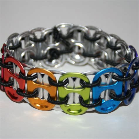 rainbow chakra stretchy pop can tab bracelet by eclectickel