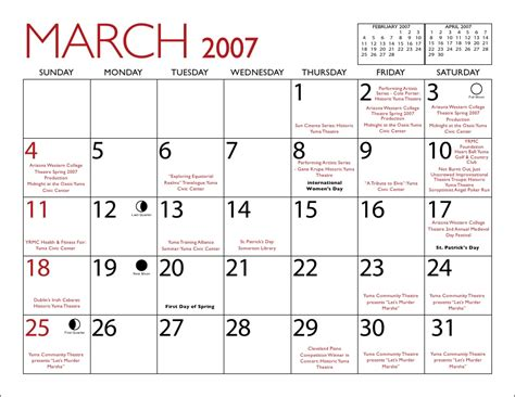 February 2007 Calendar Yuma 2007 Calendar