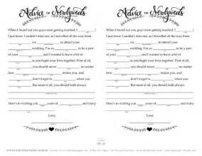 Words Of Wisdom Cards For Bridal Shower Free Wedding Mad Libs Printable The Blue Sky Papers Blog