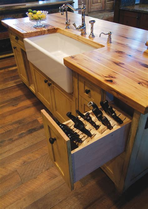 Kitchen Designers Denver Butcher Block Island With Porcelain Sink And Knive Storage