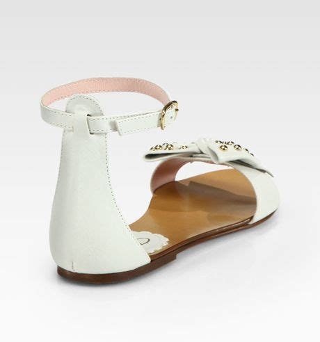 white bow sandals valentino studded lambskin bow sandals in white lyst