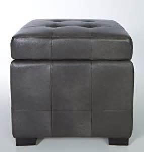 Grey Leather Storage Ottoman Cortesi Home Massimo Grey Bonded Leather