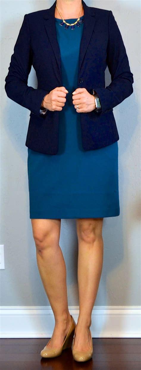 Dress Blazer Wedges post blue sheath dress navy blazer wedges