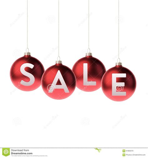 red 3d christmas baubles with sale label stock vector