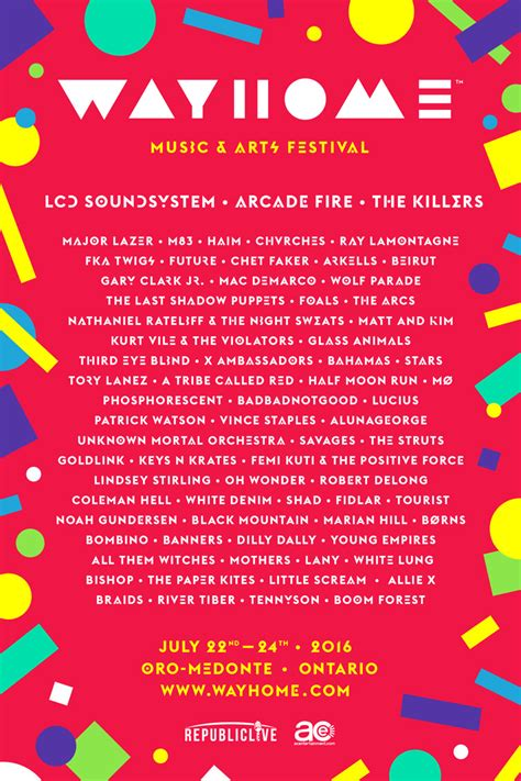 way home wayhome festival announces 2016 lineup indie88