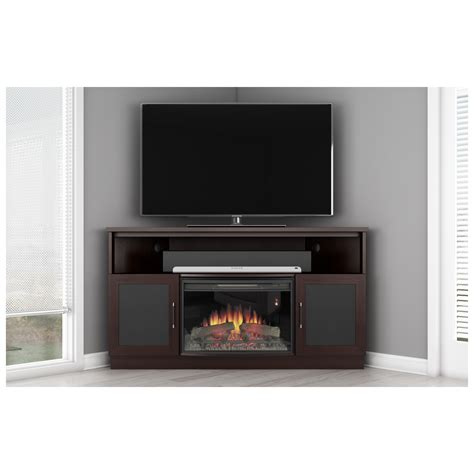 modern corner electric fireplace furnitech ft60cccfb 60 quot tv stand contemporary corner