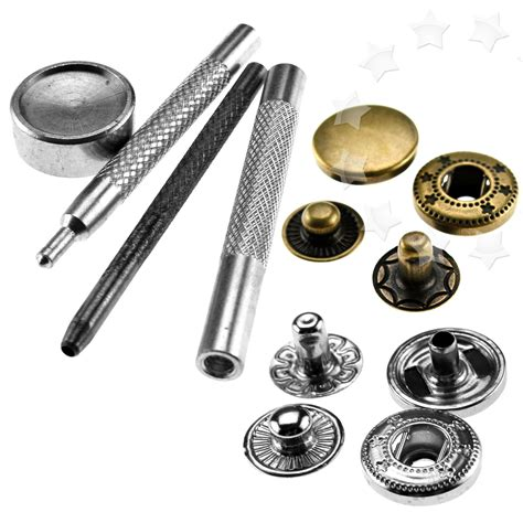 Set Perlengkapan Jahit Poppers Leather Craft With Fixings Tools Kit 30pcs snap fastener poppers press stud 12mm w 4 fixing tool leather craft set ebay
