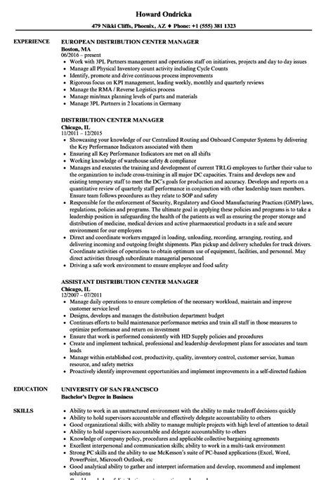 Resume Distribution Manager by Distribution Center Manager Resume Sles Velvet