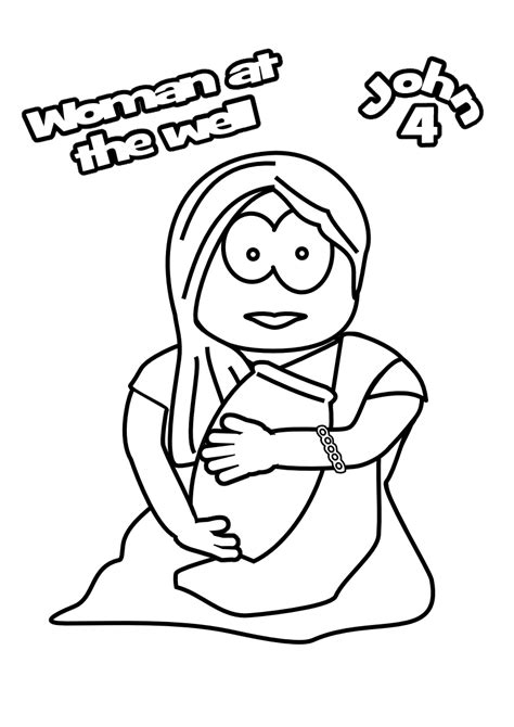 printable coloring pages woman at the well free women at the well coloring pages