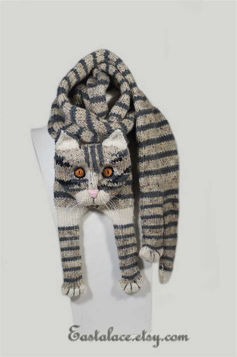 knitting pattern cat scarf tabby gray cat scarf knitting scarf gray scarf cowl scarf