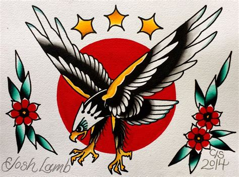 american traditional tattoo eagle eagle traditional flash painting original by
